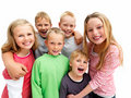 Portrait of young children smiling happily Stock Photo