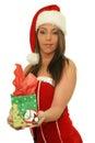 Young Christmas Woman Giving A...