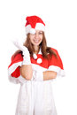 Portrait of a young christmas woman wondering isolated Stock Photography