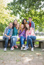 Portrait of young college students in park group the Stock Images