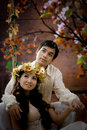 Portrait of young couple in antique dress Royalty Free Stock Photos