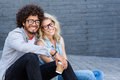 Portrait of young couple in spectacles Royalty Free Stock Photo