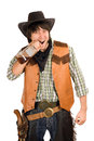 Portrait young cowboy bottle whiskey Royalty Free Stock Photo