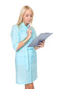 Portrait of young doctor or medic with clipboard Stock Images
