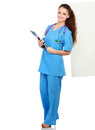 Portrait of young doctor or medic with folder and stethoscope isolated on white background Stock Images