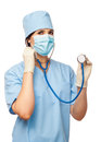 Portrait of young doctor with stethoscope Royalty Free Stock Photo