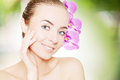 Portrait of young european woman with clear skin Royalty Free Stock Photo