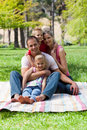 Portrait of young family having a picnic Stock Photography
