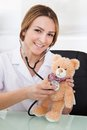 Portrait of young female doctor examining teddy bear Stock Photos
