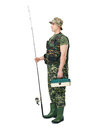 Portrait of a young fisherman full length side view in camouflage holding fishing equipment isolated on white background Stock Photography