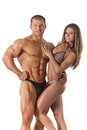 Portrait of young fitness couple on white background Royalty Free Stock Photography