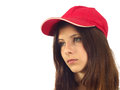 Portrait of a young girl with baseball cap red Royalty Free Stock Photos