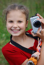 Portrait of the young girl with the camera Stock Photo