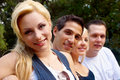 Portrait young girl with friends Stock Images
