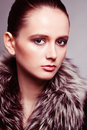 Portrait of the young girl with a fur collar Stock Photos