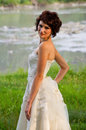 Portrait of the young girl pretty in a wedding dress Stock Photography