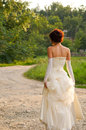 Portrait of the young girl pretty in a wedding dress Stock Image