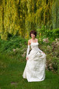 Portrait of the young girl pretty in a wedding dress Stock Photo