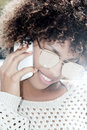 Portrait of young girl talking by mobile phone. Royalty Free Stock Photo