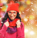 Portrait of a young girl in winter style on the snow and beautiful image is taken snowy background Stock Photo