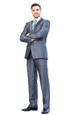 Portrait of young happy smiling cheerful business man full body Royalty Free Stock Images