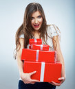 Portrait of young happy smiling woma red gift box hold isolated studio background female model Royalty Free Stock Photography