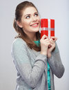 Portrait of young happy smiling woman hold gift box. Smiling gi Stock Images