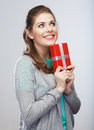 Portrait of young happy smiling woman hold gift bo Royalty Free Stock Photography