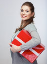 Portrait of young happy smiling woman hold gift box.Smiling gir Royalty Free Stock Photos