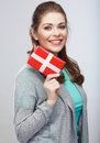 Portrait of young happy smiling woman hold gift bo Stock Image