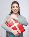Portrait of young happy smiling woman hold gift bo Stock Images