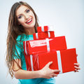 Portrait of young happy smiling woman hold red gift box. Isolat Royalty Free Stock Photo