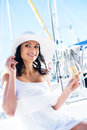 Portrait of a young and happy woman with champagne Royalty Free Stock Photo