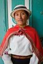 Portrait of young indigenous woman from guaranda bolivar ecuador april ecuador wearing traditional clothing Royalty Free Stock Photos