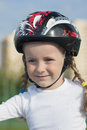 Portrait of young little skater girl Stock Images