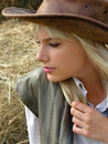 Portrait of young lonely cowgirl Stock Photo