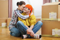Portrait of young loving couple moving Royalty Free Stock Images