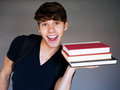 Portrait of a young male student with books Royalty Free Stock Photo