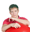 Portrait of young man with ball Stock Photos