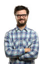 Portrait of young man with beard and glasses smiling isolated over white background Royalty Free Stock Photography