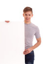 Portrait of young man with blank board Royalty Free Stock Photos