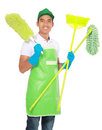 Portrait of young man with cleaning equipment isolated over white background Stock Image