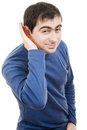 Portrait of young man listening gossip Royalty Free Stock Photo