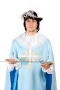 Portrait young man sword dressed as musketeer Royalty Free Stock Images