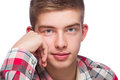 Portrait of a young man he is wearing checkered pattern shirt Stock Photos