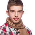 Portrait of a young man he is wearing shirt and neckcloth Royalty Free Stock Photography