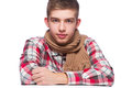 Portrait of a young man he is wearing shirt and neckcloth Royalty Free Stock Images