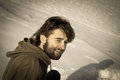 Portrait of a young man at winter old photo with beard outside on landscape Royalty Free Stock Photos