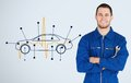 Portrait of a young mechanic next to background with car diagram and heart rate line Stock Image