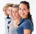 Portrait of young men and woman standing in a row Royalty Free Stock Photo